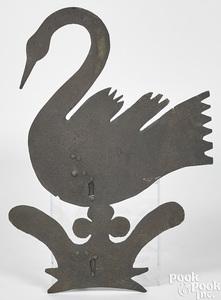 Sheet iron swan weathervane