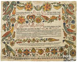 Ephrata Cloister, fraktur birth certificate