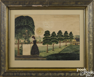 American watercolor mourning picture