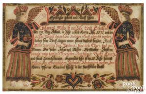 Johann Conrad Gilbert watercolor and ink fraktur