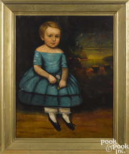Pair of American oil on canvas portraits of children