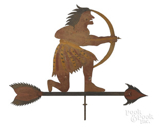 Painted Native American Indian weathervane