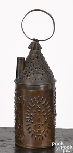 Punched tin candle lantern