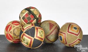 Five Pennsylvania sewing balls