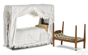 Two New England maple and pine doll beds