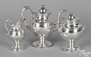 Washington, DC three-piece coin silver tea service