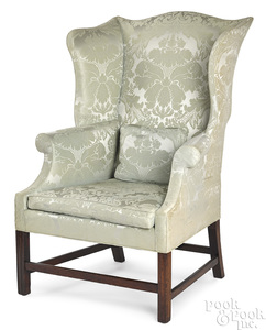 George III mahogany wing chair