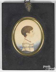 Watercolor and pencil miniature portrait