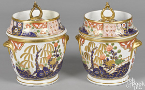 Pair of English porcelain fruit coolers