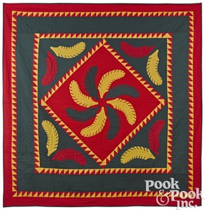 Pennsylvania Mennonite Princess feather quilt