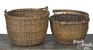 Two Pennsylvania splint gathering baskets