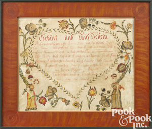 Pennsylvania ink and watercolor birth certificate