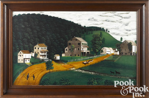 Oil on canvas landscape of Cedar Spring Farm
