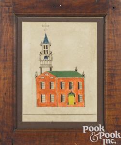 Pennsylvania Schwenkfelder watercolor and ink drawing