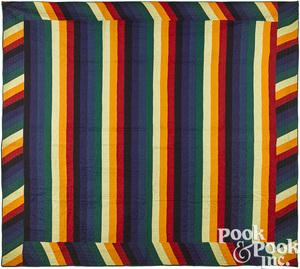 Pennsylvania Amish patchwork Jacob's coat bar quilt