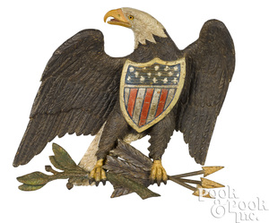 Boldly carved and painted American eagle plaque
