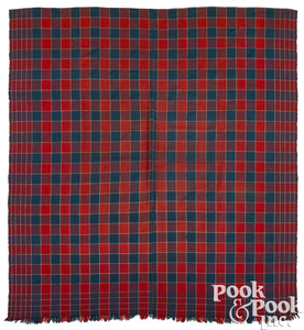 Pennsylvania red and blue plaid overshot coverlet