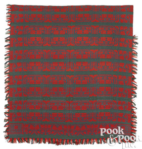 Pennsylvania green and red Jacquard coverlet
