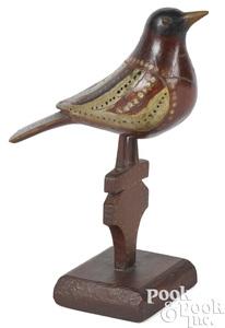 Rare Virginville Carver painted bird on pedestal