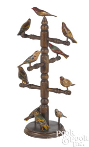 Carved and painted bird tree
