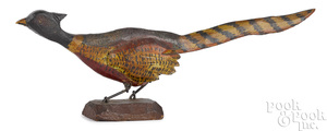Carved and painted running pheasant