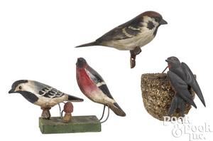 Three Pennsylvania painted bird carvings