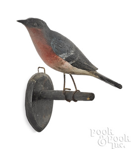 Pennsylvania carved and painted bluebird on branch