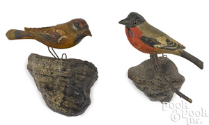 Two George Miller carved and painted birds