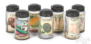 Set of twelve glass seed jars