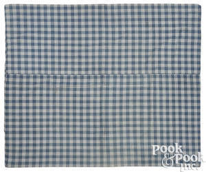 Cotton blue and white checked bed ticking cover