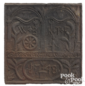 Pennsylvania cast iron Pump and Plow stove plate