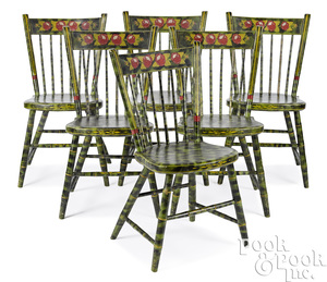 Set of six Pennsylvania painted plank seat chairs