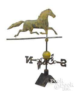 Swell body copper running horse weathervane
