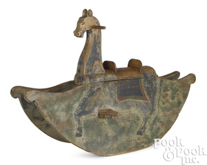 Pennsylvania carved and painted rocking horse