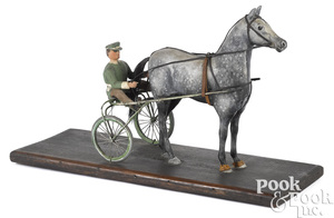 John Reber carved and painted horse and sulky