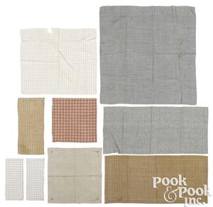 Nine pieces of cotton and linen homespun
