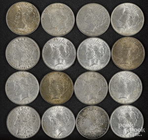 Thirteen Peace silver dollars, etc.