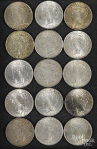 Fifteen Peace silver dollars.