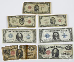 US series of 1917 one dollar note, etc.