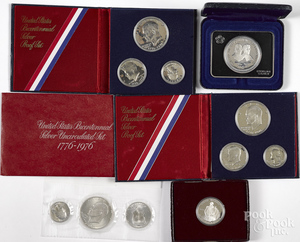 Two Bicentennial silver proof sets, etc.