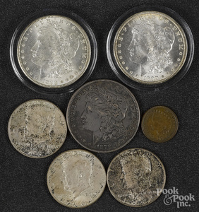 Two 1899 O Morgan silver dollars, etc.