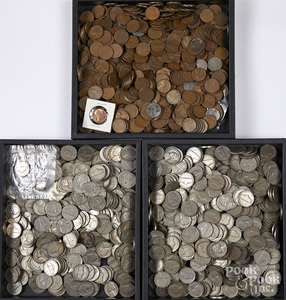 Early US pennies and nickels.
