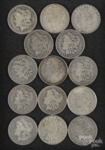 Thirteen Morgan silver dollars, etc.
