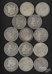 Thirteen Morgan silver dollars, etc.