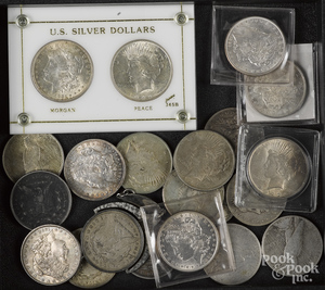 Twelve Morgan silver dollars, etc.