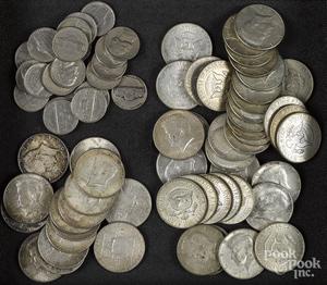 Fifteen silver half dollars, etc.