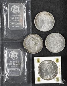 Three Morgan silver dollars, etc.
