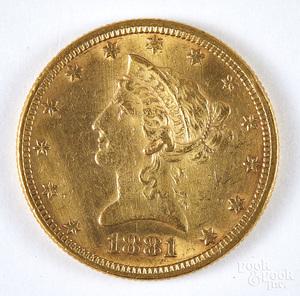 1881 ten dollar Liberty head gold coin.