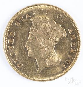 1878 three dollar Indian head gold coin.