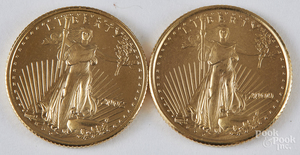 Two Liberty eagle 1/10 ozt. gold coins.